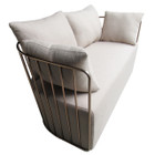 Replica Wire Sofa - Rose Gold Frame with Grey Cushion