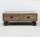 Industrial Cart Coffee Table with Drawers (hf)