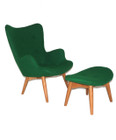 Replica Grant Featherston Contour Chair & Footstool - grass green soft cashmere