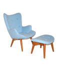 Replica Grant Featherston Contour Chair & Footstool - sky blue soft cashmere
