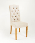 French Provincial Dining Chairs - Natural Linen - American Oak Timber