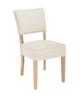 French Provincial Dining Chairs - Natural Linen - American Oak Timber (matching barstool available as well)