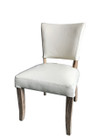 French Provincial Dining Chairs - White Italian Leather - White Washed Legs
