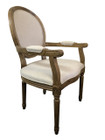 Jean-Paul Armchair with Straight Legs - Natural Linen - American Oak Timber