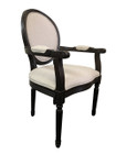Jean-Paul Armchair with Straight Legs - Natural Linen - Burn-Black Oak Timber