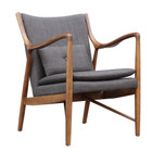 Replica Finn Juhl 45 Chair - Walnut Frame with Soft Grey Fabric