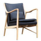 Replica Finn Juhl 45 Chair - Natural Frame with Imitation of Leather