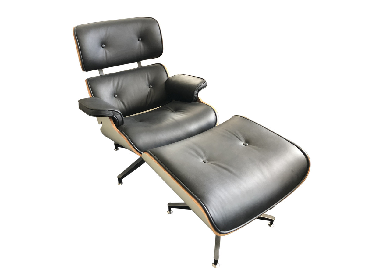 Superb Replica Eames Lounge Chair Ottoman Black Italian Leather White Frame Special Edition Bralicious Painted Fabric Chair Ideas Braliciousco