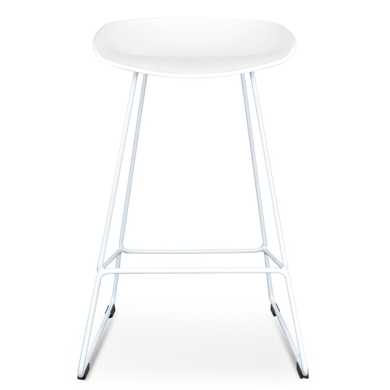 Awesome Cbs2007 Sd 65Cm Bar Stool White Seat With White Metal Frame Cf Theyellowbook Wood Chair Design Ideas Theyellowbookinfo