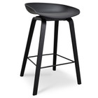 CBS2014-SD Bar Stool - Black Plastic Seat - Black Frame (cf)