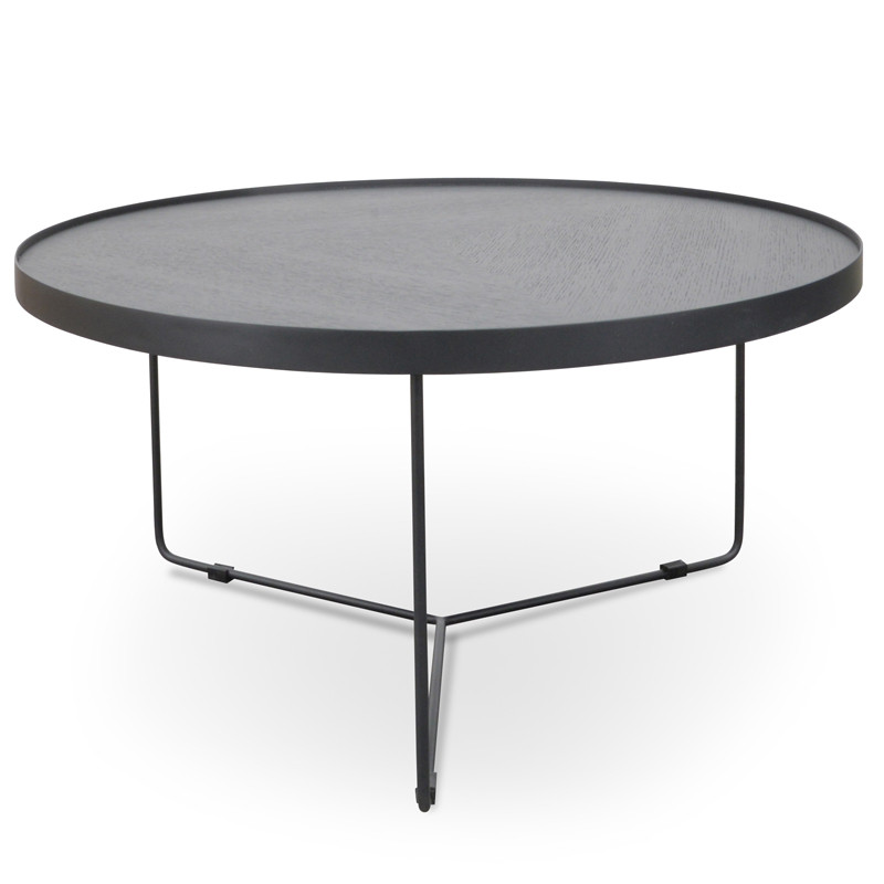 Luna 90x45cm Round Coffee Table Round Coffee Table Black Oak Top