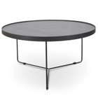 CCF391L-BB 90x45cm Round Coffee Table - Black Oak Top - Black Frame (cf)