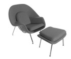 Replica Womb Chair And Ottoman - Dark Grey Cashmere