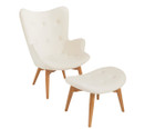 Replica Grant Featherston Contour Chair & footstool - white soft cashmere