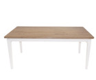 American Oak Timber Dining Table with rounded corners & white legs