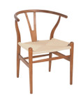 Replica Hans Wegner Wishbone Chair - Light Walnut Frame (grain not visible) Natural seat - Beech Timber