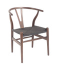 Replica Hans Wegner Wishbone Chair - Dark Walnut Frame (grain visible) Black seat - Ash Timber