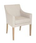 French Provincial Armchair - Natural Linen with American Oak Timber