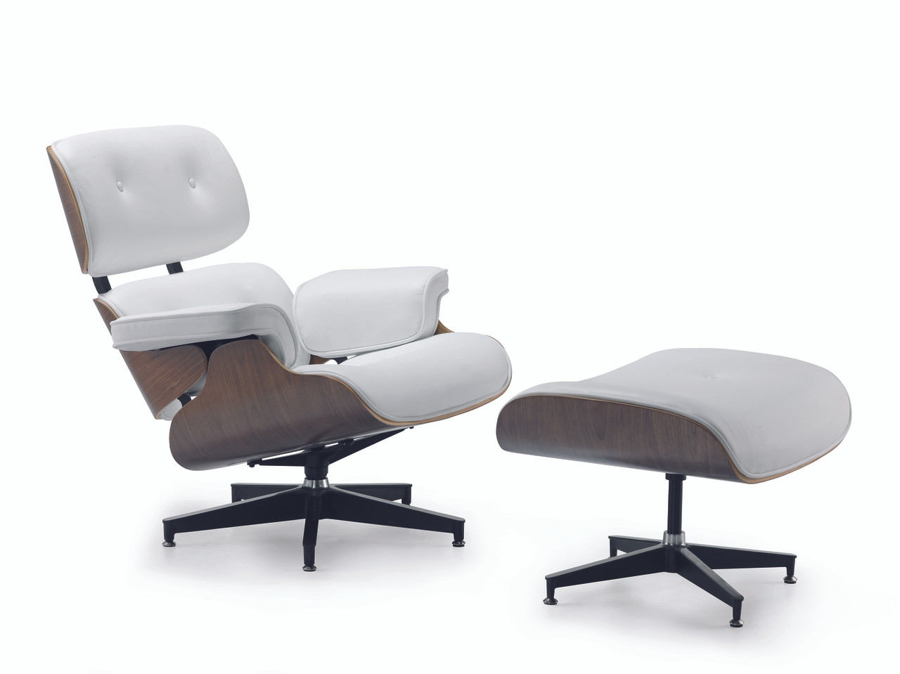 Groovy Replica Eames Lounge Chair Ottoman White Italian Leather Walnut Frame Caraccident5 Cool Chair Designs And Ideas Caraccident5Info