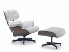Replica Eames Lounge Chair + Ottoman - White Italian Leather Walnut Frame