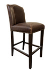 Brown Bi-Cast Leather Dining Chairs with Walnut Legs