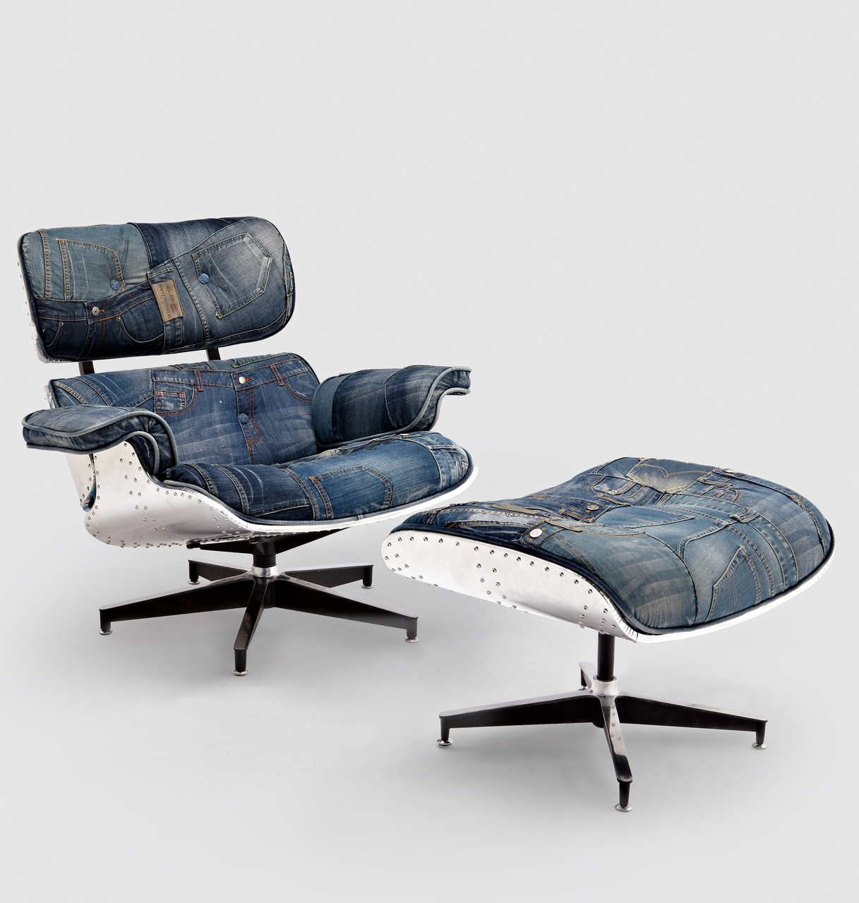 Brilliant Replica Eames Lounge Chair Ottoman Special Limited Edition Blue Denim Patchwork With Aluminium Back Caraccident5 Cool Chair Designs And Ideas Caraccident5Info