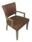 French Provincial Arm Chair - 100% Premium Vintage Italian Leather - American Oak Timber