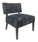 Premium French Provincial Accent chair - 100% Natural Linen in Black colour with White Writing - Black Legs
