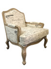 Premium French Provincial Accent Armchair - Natural Linen with Black Writing - White washed Oak Legs