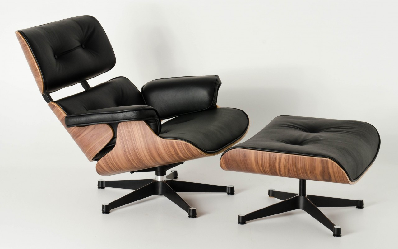 Eames Lounge Stoel Replica.Replica Eames Lounge Chair Ottoman Black Italian Leather Walnut Frame