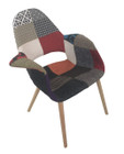 Replica Eames/Saarinen Organic Chair-patchwork option: 2 fabric with natural legs