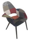 Replica Eames/Saarinen Organic Chair-patchwork option: 2 fabric with walnut legs