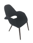 Replica Eames/Saarinen Organic Chair-Premium Charcoal Black Soft Cashmere fabric with walnut legs