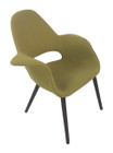 Replica Eames/Saarinen Organic Chair-Premium Olive Soft Cashmere fabric with walnut legs