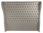 French Provincial Headboard with Buttons & Wings-Natural Linen Fabric-Dark Linen & Light Linen
