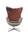 Industrial style of Replica Egg Chair-USA Flag Fabric & Aluminium  back