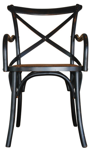 French Provincial Carver Crossback Chair in Black