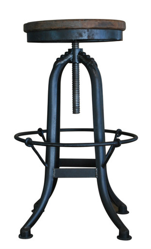 Black Industrial Iron Stool