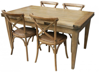 Good Solid Oak Table With 4 Provincial Crossback Chairs In Natural