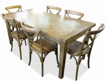 Solid Oak Table with 6 Provincial Crossback Chairs in Natural