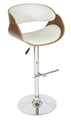 Shell Adjustable Swivel Bar Stool in White