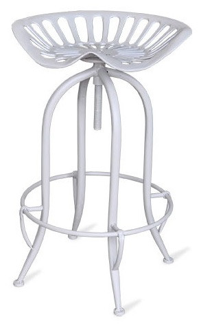 Iron Tractor Stool White