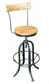 Industrial Iron Stool with Backrest