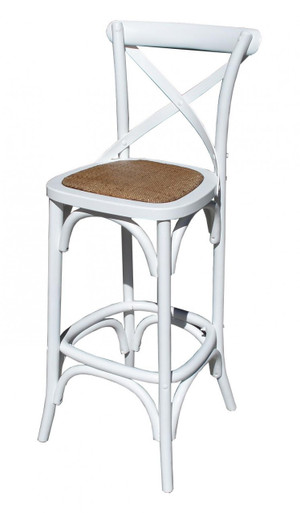 White Provincial Crossback Bar Stool