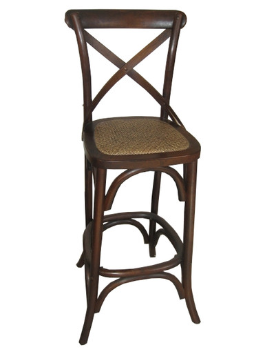 Brown Provincial Crossback Bar Stool