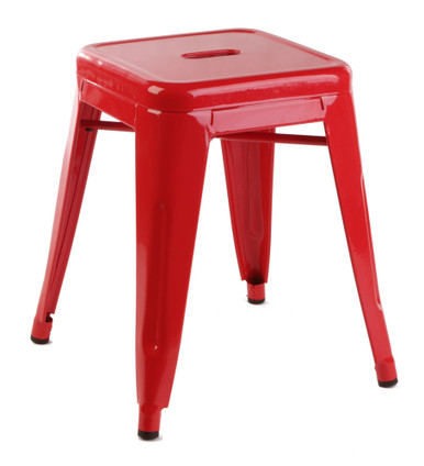 Short red tolix stool side