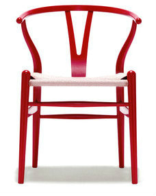 Stainless Steel Red Powdercoated Replica Wishbone Chair