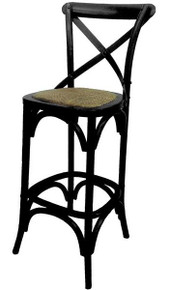 Black Provincial Crossback Bar Stool Front