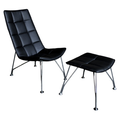 Santiago Lounge Chair and Ottoman - Black