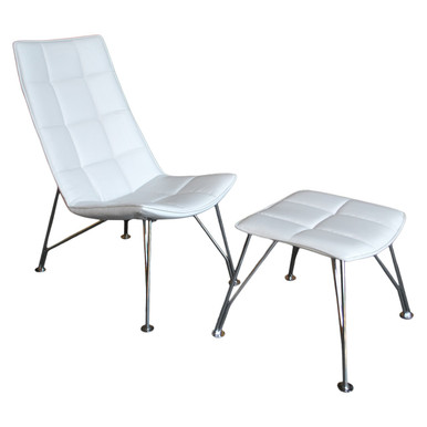 Santiago Lounge Chair and Ottoman - White